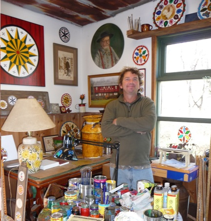"My happy hex-meister, Eric Claypoole. Check out Eric's website, www.claypoolehexsigns.com, to see pictures of hex ""crop circles"" he has done!"