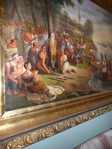 Painting of some guy about to get done in by Native Americans.