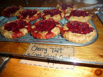 At Chase's Daily in Belfast, you can get an awesome lunch, fresh veggies to take home, and the most amazing sour cherry tarts on a whole wheat crust!