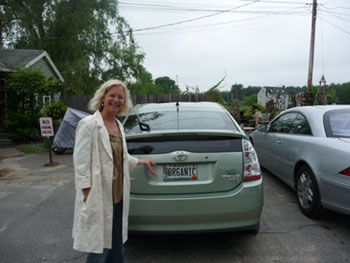 "At ""Antiques on 9"" in Kennebunkport, I bought a lot of stuff. But my best find was a longtime fan of organic, who even has a green Prius with an OR6ANIC license plate!"