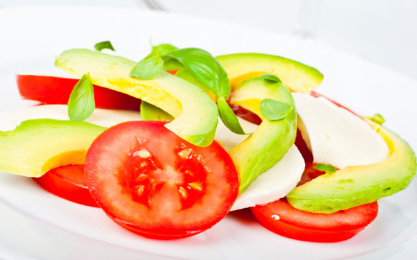 September Salad: Tomato, Mozzarella, and Avocado