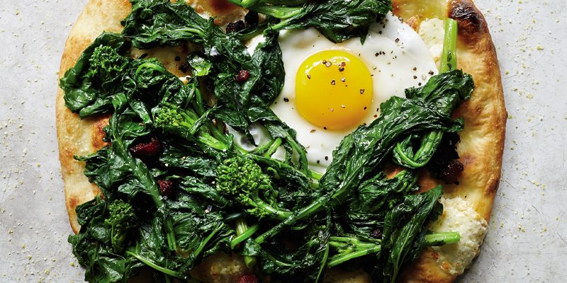 Broccoli Rabe Pizza with Soppressata and an Egg