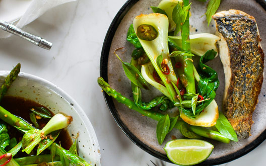Eat Clean 25-Minute Dinner: Cod with Bok Choy, Asparagus, and Chile-Lime Dressing