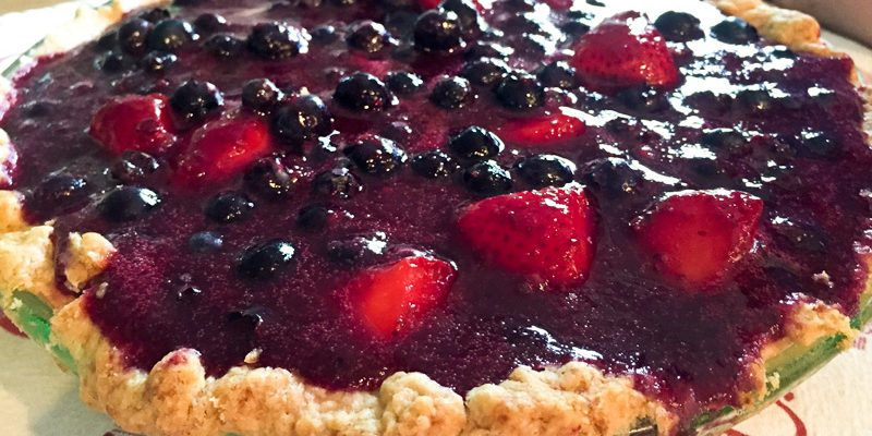 Glazed Fresh Blueberry and Strawberry Pie with Whipped Cream