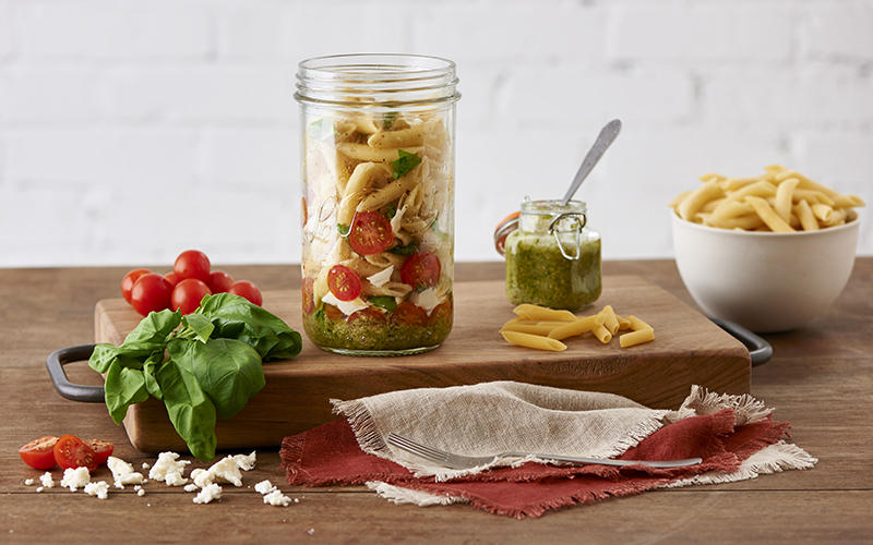 Pesto Pasta Mason Jar Meal recipe