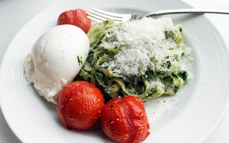 Fettuccine Campagnole - Spinach Pesto Pasta Recipe
